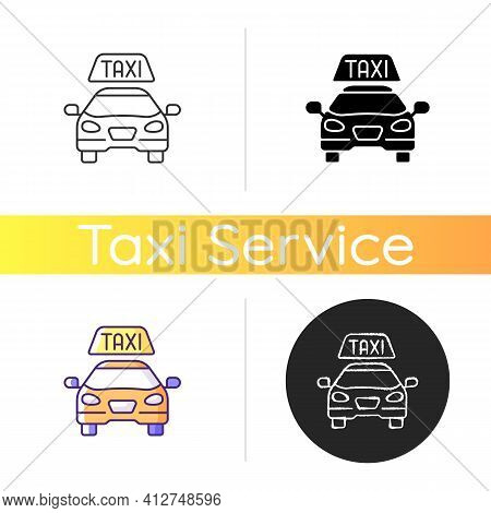 Taxis Icon. Modern Taxi. Transportation Service. Convenient And Fast City Transport. Taxi Checker Ca