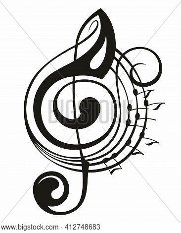 Treble Clef Icon. Music Note Design Element