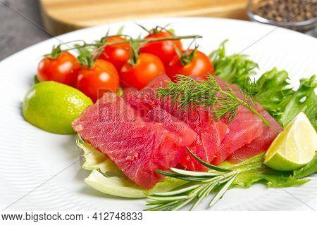 Tuna Sushi, Tuna Carpaccio, Tuna Sashimi With Vegetables. Healthy Eating With Seafood, We Cook At Ho