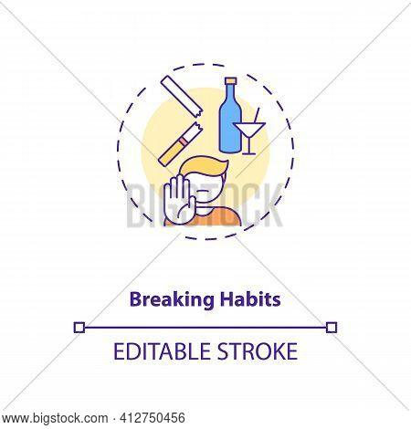 Breaking Habits Concept Icon. Identifying Triggers Idea Thin Line Illustration. Habitual Behaviors.