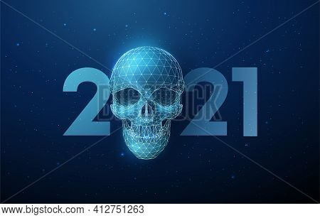 Abstract Blue Scull And Number 2021 New Year Greeting Card