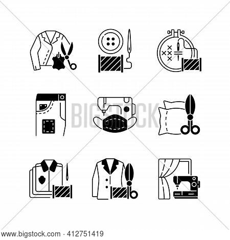 Sewing Services Black Linear Icons Set. Leather Outfit. Button Replacement. Garment Restoration. Clo