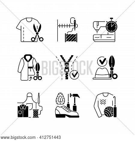 Sewing Black Linear Icons Set. Resizing Shirts. Needlecraft Workshop. Garment Restoration. Clothing