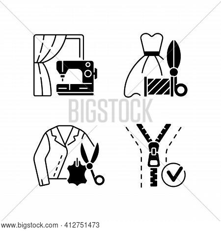Clothes Repair Service Black Linear Icons Set. Professional Upholstery. Sewing Machine. Leather Jack