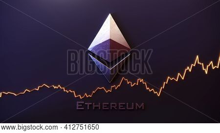 Ethereum Logo Sign. Crypto Currency Digital Money. Ethereum Blockchain Symbol. 3d Illustration