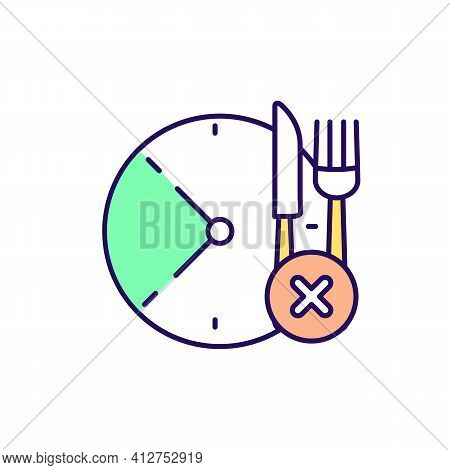 Skip Meal Rgb Color Icon. Intermittent Fasting Period. Dieting Plan. Clock With Hour Periods. Weight