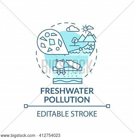 Freshwater Pollution Concept Icon. Microplastics Effects Idea Thin Line Illustration. Water Contamin