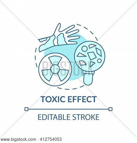 Toxic Effect Concept Icon. Microplastics Health Effects Idea Thin Line Illustration. Result Of Decom