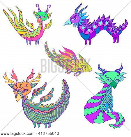 Set Of Five Colorful Fantasy Dragons. Each Dragon Is Unique, With Its Own Colors And Patterns, Wings