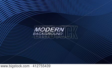 Blue Abstract Background With Gradient, Thin Intertwined Wavy Lines