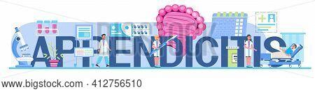 Appendicitis Concept Header Vector For Medical Websites, Blogs. Intestine Doctors Examine, Treat Dys