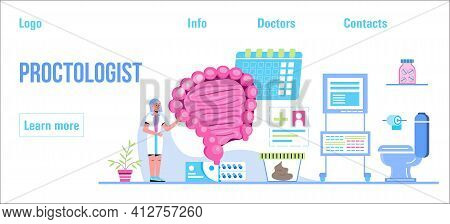 Proctologist Concept Vector For Medical Web. App. Blog. Intestine Doctors Examine, Treat Dysbiosis.