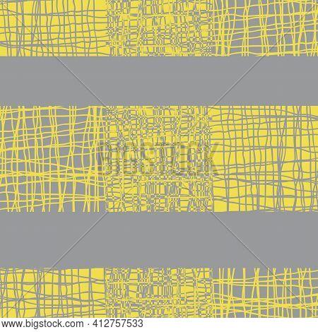 Irregular Vector Gauze Weave Effect Striped Seamless Pattern Background. Yellow Grey Backdrop Of Alt