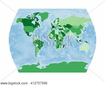 World Map. John Muir's Times Projection. World In Green Colors With Blue Ocean. Vector Illustration.