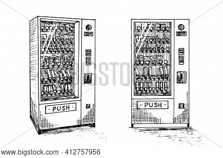 Vending Machine Set With Beverage Bottles And Cans Hand Drawn Sketch. Automatic Snack And Drink Sale