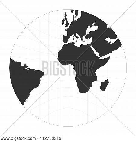 Map Of The World. Gnomonic Projection. Globe With Latitude And Longitude Net. World Map On Meridians