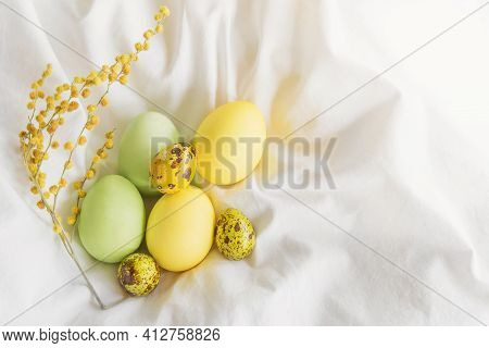 Light Tender Spring Composition For Easter: Light Yellow And Light Green Painted Chicken And Quail E