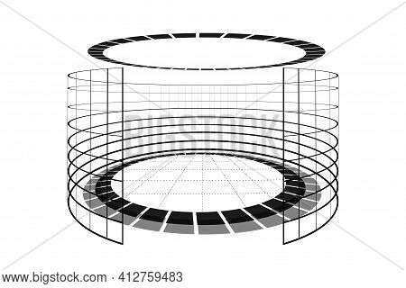 Futuristic Black And White Virtual Reality Arena. Abstract Circle Sci-fi Elements Cyberspace Portal.