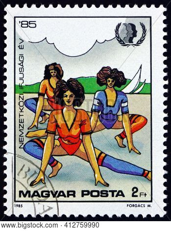 Hungary - Circa 1985: A Stamp Printed In Hungary Shows Aerobic Exercise, International Youth Year, C