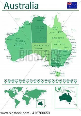 Australia Detailed Map And Flag. Australia On World Map.