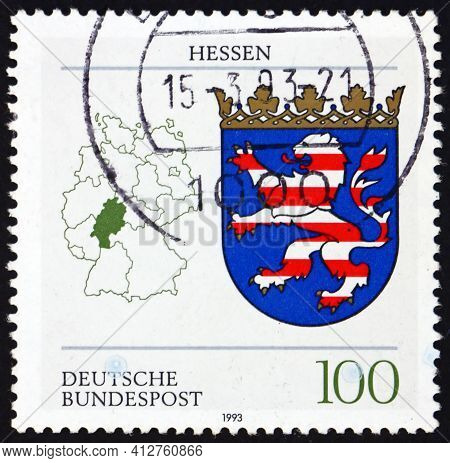 Germany - Circa 1993: A Stamp Printed In Germany Shows Coat Of Arms Of Hessen, State Of The Federal