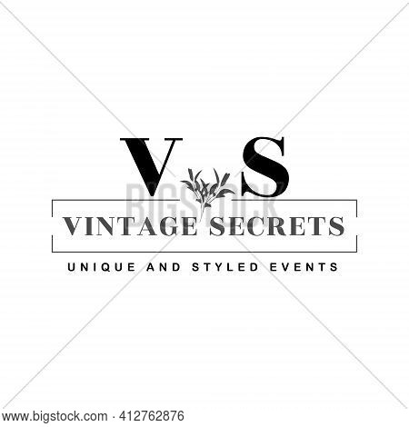 Vintage Secrets, Unique And Styled Events, A Minimal Logo Design Template For Event Planner And Wedd