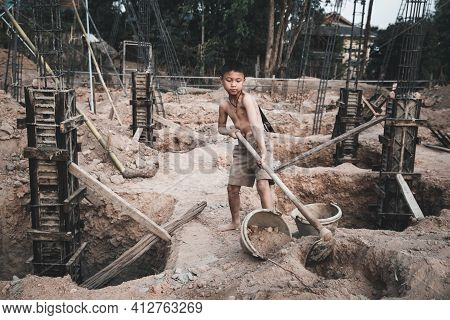 The Concept Of Illegal Child Labor, Children Are Forced To Work Construction. Children Violence And