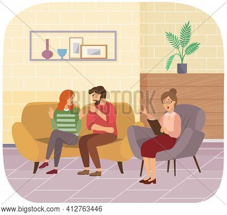 Couple Of People Quarrels. Psychotherapist Gives Advice On Family Psychology To Husband And Wife