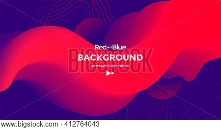 Red And Blue Fluid Wave. Duotone Compositions