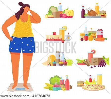 Overweight Girl On Scales Surrounded By Junk Food, Fastfood And Fizzy Drinks. Lady Measuring Weight