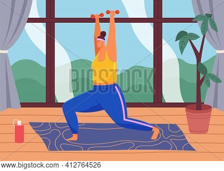 Woman With Dumbbells Exercising At Home To Lose Weight. Girl Doing Sports On Special Rug For Fitness