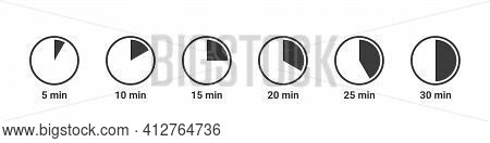 Meal Preparation Time Icons. Cook Time Icons. Boiling Time. Frying Time Icons. Vector Illustration