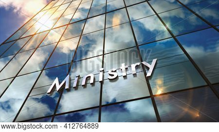 Ministry Glass Skyscraper With Mirrored Sky 3D Illustration