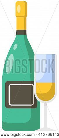 Glass Of Sparkling Wine And Bottle With Cork. Champagne With Bubbles, Alcoholic Drink, Alcohol