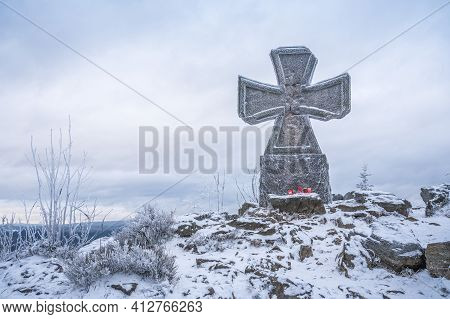 Stone War Cross Near Lookout Tower Stepanka On The Border Of Krkonose And Jizera Mountains. Winter O