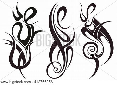 Tribal Tattoo Design Elements . Vector Illustration. Set Of Tattoo