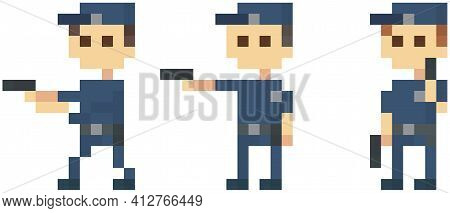 Pixel Policemen With Pistol. Officers In Blue Uniform. Pixelated Group Of Cops Holding Handgun