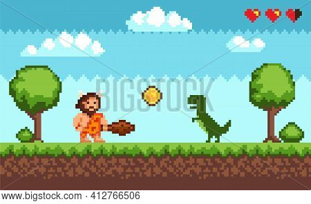 Pixel Art Background With Primitive Man And Dinosaur. Pixelated Scene With Caveman, Green Dragon