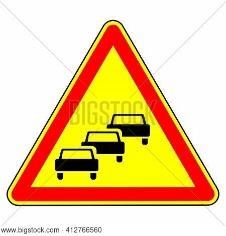 Traffic Congestion. Temporary Warning Sign. Traffic Regulations And Road Safety. Object On A White B