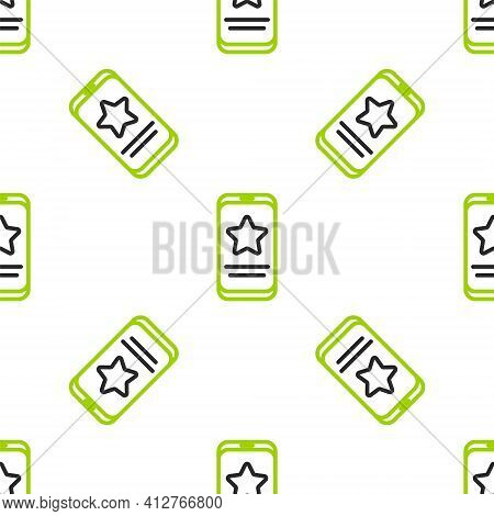 Line Mobile Phone With Review Rating Icon Isolated Seamless Pattern On White Background. Concept Of