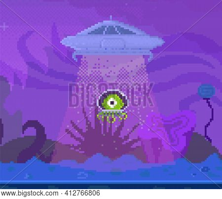 Green Characters In In Transparent Helmet Leave Planet And Fly Into Sky. Flying Saucer Engulfs Alien