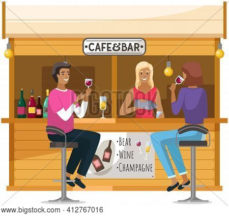 Relaxation In Cafe Concept. Bartender Making Alcohol Coocktails For Friends. Outdoor Cafe Or Bar