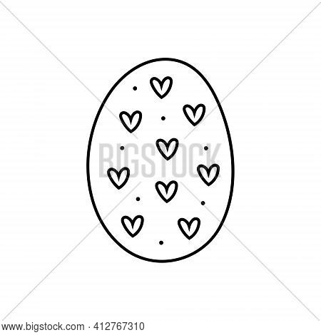 Easter Egg With Hearts Doodle Line Art Design. Black Monochrome Icon Element. Isolated On White Back