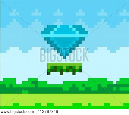 Vector Pixel Diamond. Pixel-game Blue Stone On Grass Platform In Natural Landscape Background