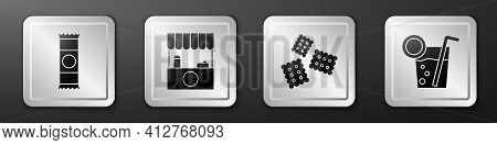 Set Chocolate Bar, Street Stall With Awning, Cracker Biscuit And Cocktail Icon. Silver Square Button