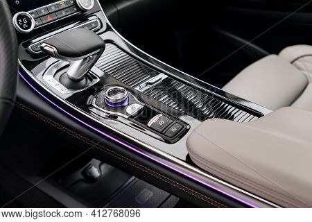 Central Panel With Gear Shift In New Modern Car