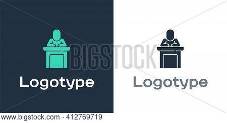 Logotype Speaker Icon Isolated On White Background. Orator Speaking From Tribune. Public Speech. Per