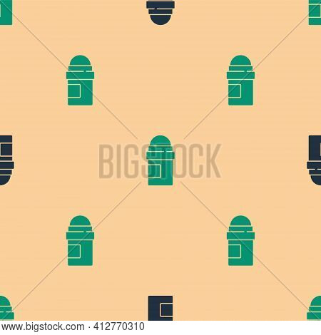 Green And Black Antiperspirant Deodorant Roll Icon Isolated Seamless Pattern On Beige Background. Co