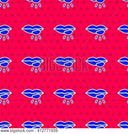 Blue Herpes Lip Icon Isolated Seamless Pattern On Red Background. Herpes Simplex Virus. Labial Infec