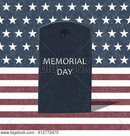American Grunge Flag For Memorial Day. Vector Illustration